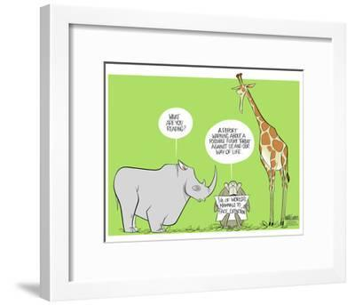What are you reading? A report warning about possible future threat against us and our way of life.-Ann Telnaes-Framed Art Print