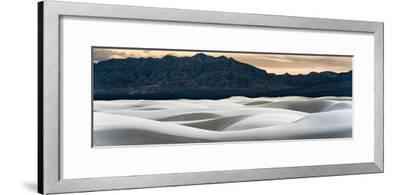 Sand Dunes in White Sands, Albuquerque New Mexico at sunset with mountains in the background-David Chang-Framed Photographic Print