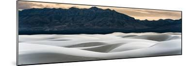 Sand Dunes in White Sands, Albuquerque New Mexico at sunset with mountains in the background-David Chang-Mounted Photographic Print
