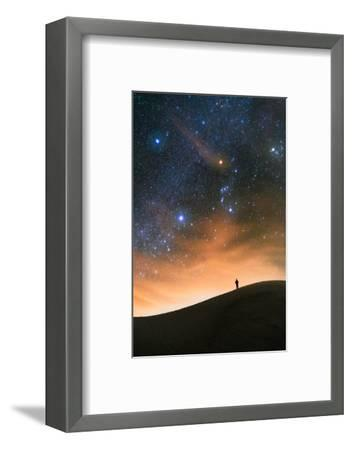 Colorful stars sky in White Sands Monument over Sand Dunes with silhouette and horizon air glow-David Chang-Framed Photographic Print