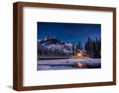 Emerald Lake Lodge in Banff, Canada during winter with snow and mountains at night with starry sky-David Chang-Framed Premium Photographic Print