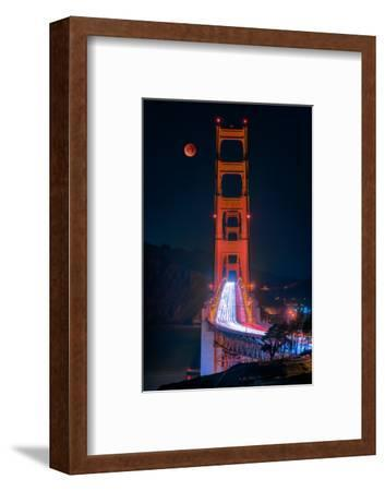 Full blood red moon rising over the Golden Gate Bridge in San Francisco, view from Battery Cranston-David Chang-Framed Photographic Print