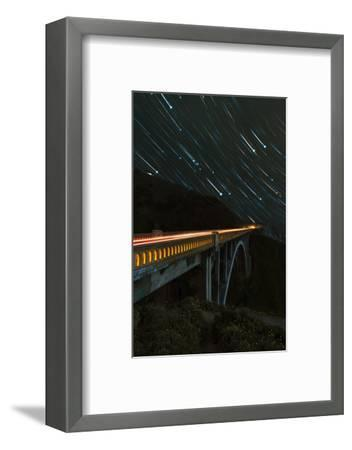 Star trails and light trails over the Big Sur's Bixby Creek Bridge near Monterey, California-David Chang-Framed Premium Photographic Print