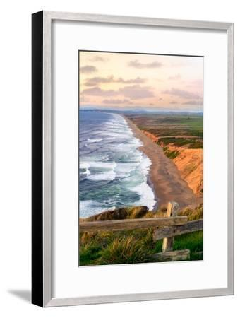 Sunset along Pt Reyes Seashore, San Francisco with oceans breaking along the California coast-David Chang-Framed Photographic Print