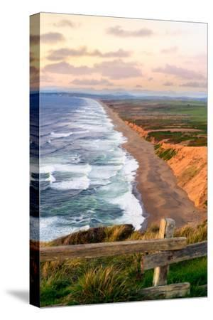 Sunset along Pt Reyes Seashore, San Francisco with oceans breaking along the California coast-David Chang-Stretched Canvas Print