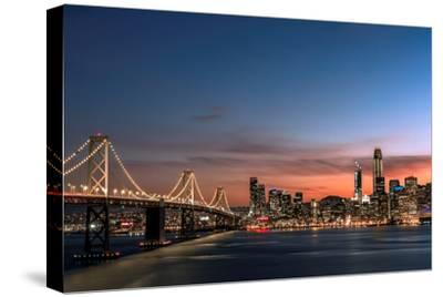Sunset view of San Francisco from Treasure Island of the Bay Bridge with pink clouds at blue hour-David Chang-Stretched Canvas Print
