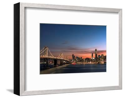 Sunset view of San Francisco from Treasure Island of the Bay Bridge with pink clouds at blue hour-David Chang-Framed Premium Photographic Print