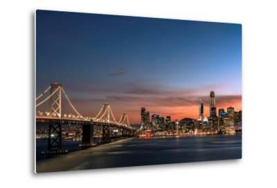 Sunset view of San Francisco from Treasure Island of the Bay Bridge with pink clouds at blue hour-David Chang-Metal Print