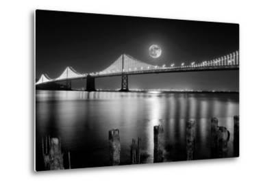 Super full moon rising in San Francisco Embarcadero pier over the Bay Bridge in the evening-David Chang-Metal Print