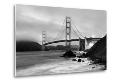 Cloudy sunset, ocean waves in San Francisco at Golden Gate Bridge from Marshall Beach-David Chang-Metal Print