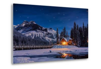 Emerald Lake Lodge in Banff, Canada during winter with snow and mountains at night with starry sky-David Chang-Metal Print