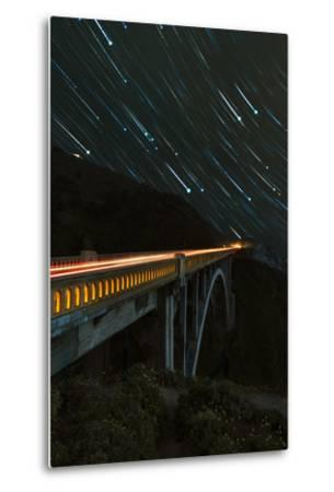 Star trails and light trails over the Big Sur's Bixby Creek Bridge near Monterey, California-David Chang-Metal Print