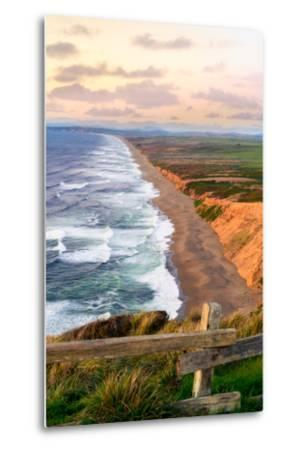 Sunset along Pt Reyes Seashore, San Francisco with oceans breaking along the California coast-David Chang-Metal Print