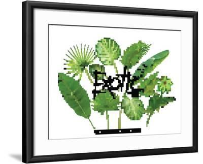 Vector Tropical Exotic Leaves, Realistic Jungle Leaves Set Isolated on White Background. Palm Leaf-Leezarius-Framed Art Print
