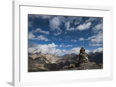 A cairn on top of the Dung Dung La in Ladakh, a remote Himalayan region in north India, Asia-Alex Treadway-Framed Photographic Print