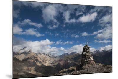 A cairn on top of the Dung Dung La in Ladakh, a remote Himalayan region in north India, Asia-Alex Treadway-Mounted Photographic Print