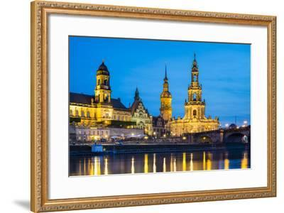 Dresden skyline and historic buildings along Elbe River, Altstadt (Old Town), Dresden, Germany-Jason Langley-Framed Photographic Print