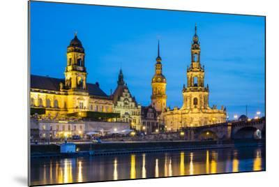 Dresden skyline and historic buildings along Elbe River, Altstadt (Old Town), Dresden, Germany-Jason Langley-Mounted Photographic Print
