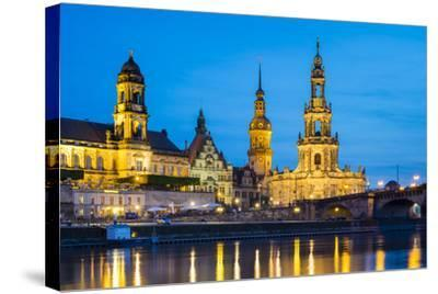 Dresden skyline and historic buildings along Elbe River, Altstadt (Old Town), Dresden, Germany-Jason Langley-Stretched Canvas Print