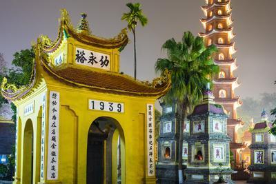 Tran Quoc Pagoda (Chua Tran Quoc) at night, Tay Ho District, Hanoi, Vietnam, Indochina-Jason Langley-Framed Photographic Print