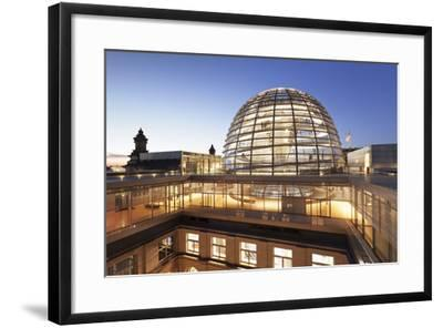 The Dome by Norman Foster, Reichstag Parliament Building at sunset, Mitte, Berlin, Germany, Europe-Markus Lange-Framed Photographic Print