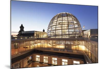 The Dome by Norman Foster, Reichstag Parliament Building at sunset, Mitte, Berlin, Germany, Europe-Markus Lange-Mounted Photographic Print
