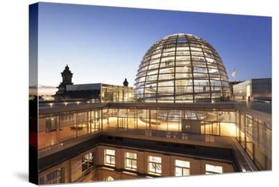The Dome by Norman Foster, Reichstag Parliament Building at sunset, Mitte, Berlin, Germany, Europe-Markus Lange-Stretched Canvas Print