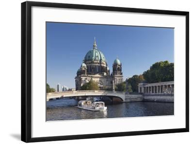 Excursion boat on Spree River, Berliner Dom (Berlin Cathedral), UNESCO World Heritage, Berlin-Markus Lange-Framed Photographic Print