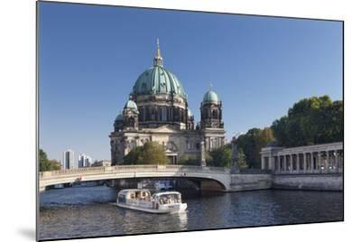 Excursion boat on Spree River, Berliner Dom (Berlin Cathedral), UNESCO World Heritage, Berlin-Markus Lange-Mounted Photographic Print