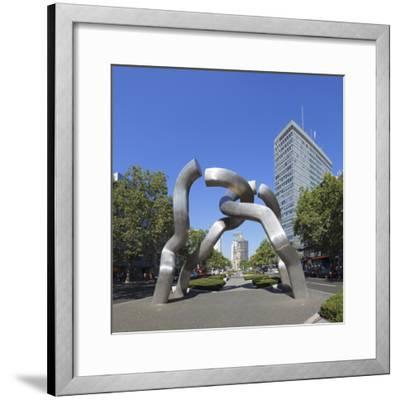 Kaiser Wilhelm Memorial church and sculpture, Kurfuerstendamm, Berlin, Germany-Markus Lange-Framed Photographic Print