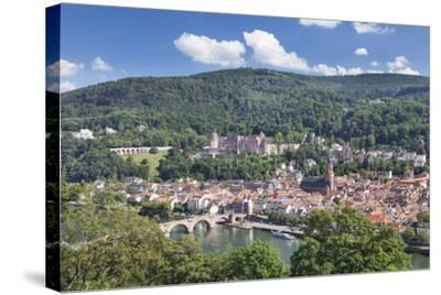 Old town with Karl-Theodor-Bridge (Old Bridge), Heilig Geist Church and Castle, Germany-Markus Lange-Stretched Canvas Print