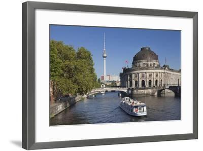 Excursion boat on Spree River, Bode Museum, Museum Island, UNESCO World Heritage, Berlin, Germany-Markus Lange-Framed Photographic Print