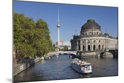 Excursion boat on Spree River, Bode Museum, Museum Island, UNESCO World Heritage, Berlin, Germany-Markus Lange-Mounted Photographic Print