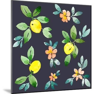 Lemons - Navy-Elise Engh-Mounted Art Print