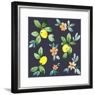 Lemons - Navy-Elise Engh-Framed Art Print