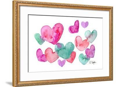 Pink, Purple, Blue Hearts-Elise Engh-Framed Art Print