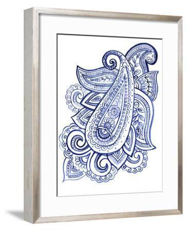 Indigo Paisley III--Framed Art Print
