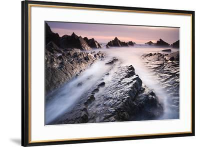 Dramatic coastal scenery at sunset, Hartland Quay, Devon, England. Spring (April) 2010.-Adam Burton-Framed Photographic Print