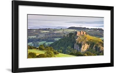 Carreg Cennen Castle at dawn on a misty summer morning, Brecon Beacons National Park, Carmarthenshi-Adam Burton-Framed Photographic Print