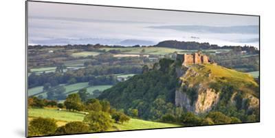 Carreg Cennen Castle at dawn on a misty summer morning, Brecon Beacons National Park, Carmarthenshi-Adam Burton-Mounted Photographic Print