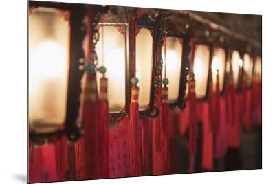 Lanterns at Man Mo Temple, Sheung Wan, Hong Kong Island, Hong Kong, China-Ian Trower-Mounted Photographic Print