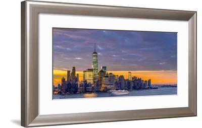 USA, New York, Manhattan, Lower Manhattan and World Trade Center, Freedom Tower across Hudson River-Alan Copson-Framed Photographic Print