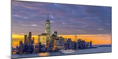 USA, New York, Manhattan, Lower Manhattan and World Trade Center, Freedom Tower across Hudson River-Alan Copson-Mounted Photographic Print