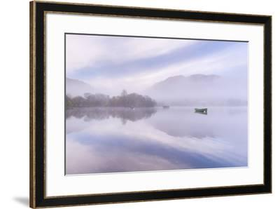 Misty autumn morning on Ullswater in the Lake District, Cumbria, England. Autumn (November) 2015.-Adam Burton-Framed Photographic Print