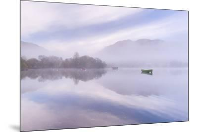 Misty autumn morning on Ullswater in the Lake District, Cumbria, England. Autumn (November) 2015.-Adam Burton-Mounted Photographic Print