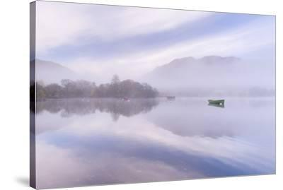 Misty autumn morning on Ullswater in the Lake District, Cumbria, England. Autumn (November) 2015.-Adam Burton-Stretched Canvas Print