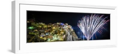 Europe, Italy, Liguria. Fireworks in Manarola for San Lorenzo-Catherina Unger-Framed Photographic Print