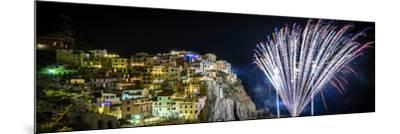 Europe, Italy, Liguria. Fireworks in Manarola for San Lorenzo-Catherina Unger-Mounted Photographic Print