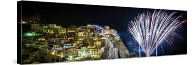 Europe, Italy, Liguria. Fireworks in Manarola for San Lorenzo-Catherina Unger-Stretched Canvas Print