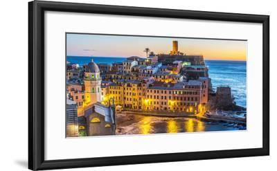 Italy, Liguria, Cinque Terre. The village of Vernazza in the evening-Catherina Unger-Framed Photographic Print